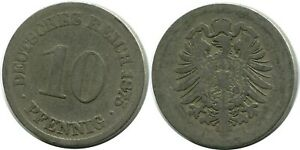10 PFENNIG 1875 A GERMAN EMPIRE GERMANY DB309GW