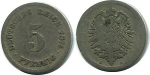 5 PFENNIG 1875 A GERMAN EMPIRE GERMANY DB136GW