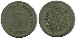 5 PFENNIG 1875 A GERMAN EMPIRE GERMANY DB138GW