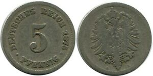5 PFENNIG 1875 A GERMAN EMPIRE GERMANY DB246GW