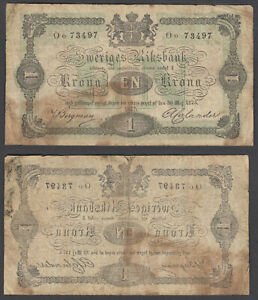 SWEDEN 1 KRONA 1875  F  CONDITION BANKNOTE P 1B