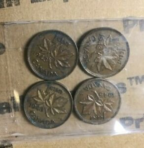 LOT OF 4 CANADIAN 1 CENT COINS. 1943   1945 EXCELLENT CONDITION.