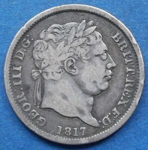 UK   SILVER SHILLING 1817 KM 666 GEORGE III  1760 1820    EDELWEISS COINS