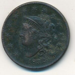 1832 CORONET HEAD LARGE CENT VERY NICE DETAILS  CIRCULATED SHIPS FREE  INV:3