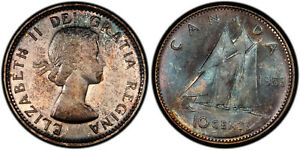 1958 TEN CENTS 10 PCGS MS 65   SUPERB GREEN TONES & STRONG LUSTER