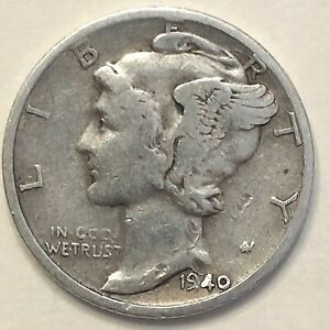 1940 D MERCURY DIME   F          FREE COMBINED SHIPPING