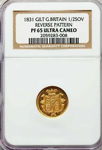 UNIQUE 1831 GREAT BRITAIN 1/2 SOVEREIGN REVERSE PATTERN GILT UNIFACE NGC PF65CAM