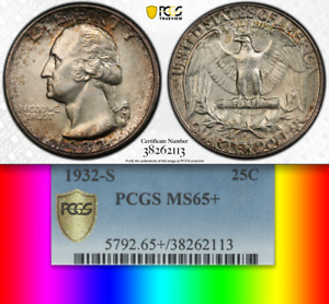 Click now to see the BUY IT NOW Price! 1932 S PCGS MS65  $6 250 CU POP 18/4  LOWEST MINTAGE WASHINGTON QUARTER  25C