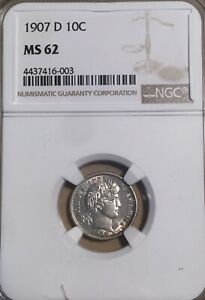 1907 D NGC MS62 BARBER SILVER DIME