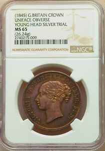 UNIQUE 1845 ENGLISH CROWN YOUNG HEAD SILVER DIE TRIAL PIEDFORT PATTERN NGC MS 65