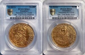 UNIQUE GERMAN GOLD OBV DIE TRIALS C.1612 MATTHIAS II CORONATION MEDALS PCGS MS65