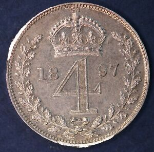 BRITISH COIN   1897 VICTORIA OH THREEPENCE 4D FOURPENCE   EDGE DAMAGED [17971]