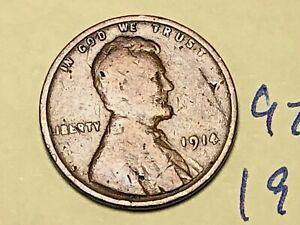 1914 1C BN LINCOLN CENT 9282W WHEAT PENNY
