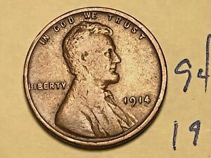 1914 1C BN LINCOLN CENT 9402W WHEAT PENNY