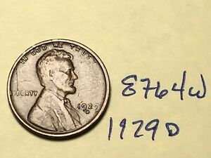 1929 D LINCOLN CENT NICE PREMIUM COLLECTION 8764W WHEAT PENNY F   VF