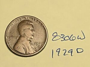 1929 D LINCOLN CENT WHEAT PENNY GOOD 8306W