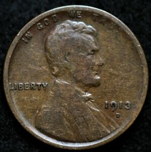 1913 D LINCOLN WHEAT CENT PENNY  >> US COIN <<
