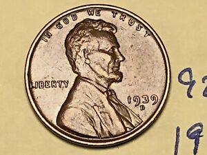 1939 D LINCOLN WHEAT CENT FINE PENNY 9255W