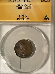 1914 D LINCOLN WHEAT CENT KEY DATE F15 ANACS