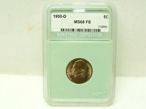 1950 D JEFFERSON NICKEL MS 68 FS NUMISTRUST CORPORATION 115663