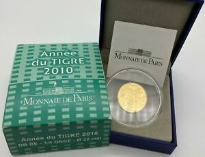 FRANKREICH 2010 TIGER 50 EUROS GOLD 1/4 OZ PROOF   TIGER 0 25 OUNCE