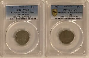 PAIR OF ELLIPTICAL MINT ERRORS   1916 BUFFALO 5C & 1906 LIBERTY 5C PCGS