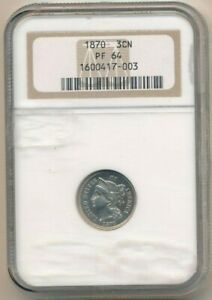 1870 THREE CENT  NICKEL  PIECE GORGEOUS PROOF 3 CENT  NGC GRADED PF64 SHIPS FREE