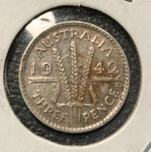 "1942 M MELBOURNE AUSTRALIAN THREEPENCE /"" FINE CONDITION /"" 3d"