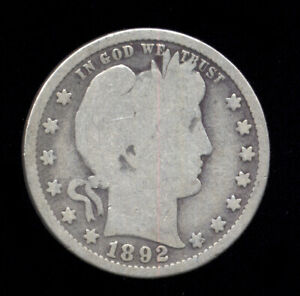 1892   1ST YEAR OF ISSUE     BETTER DATE   BARBER QUARTER  704 112