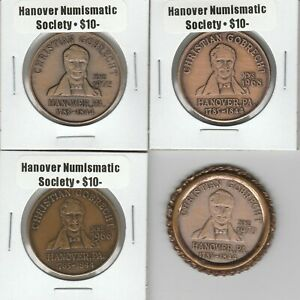LOT OF 4 DIFFERENT 1974 CHRISTIAN GOBRECHT HANOVER PA COIN CLUB BRONZE MEDALS