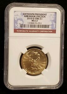 2010 D ABRAHAM  LINCOLN DOLLAR NGC MS67 SMS  1208870 051