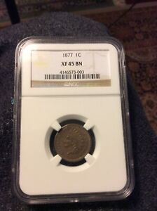 1877 INDIAN HEAD CENT/PENNY NGC XF45 EX  KEY DATE LOW MINTAGE