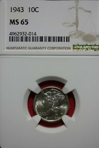 1943 P MS 65  MERCURY DIME NGC CERTIFIED GRADED SLAB COMBINED SHIPPING OCE 337