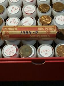 LINCOLN PENNY ROLL   CIRCULATED       1984 D LOT OF 50 CENTS