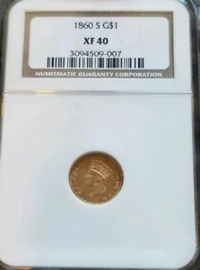 1860 S $1 GOLD INDIAN PRINCESS DOLLAR NGC XF40 COIN