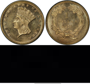Click now to see the BUY IT NOW Price! 1873 PCGS MS64 CLOSED 3  MINTAGE 1 800  POPULATION 8/3    GOLD DOLLAR $1