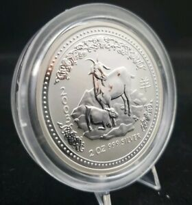Click now to see the BUY IT NOW Price! 2003 PERTH MINT 2 OZ .999 SILVER LUNAR SERIES 1 YEAR OF THE GOAT COIN IN OGP