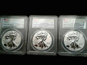 Click now to see the BUY IT NOW Price! 2019S AMERICAN SILVER EAGLE ENHANCED REV PROOF PR70 FDOI PCGS & COA   LOT OF 3