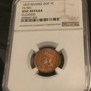 Click now to see the BUY IT NOW Price! 1875 REVERSE DOT INDIAN HEAD CENT FS 901 NGC UNC DETAILS