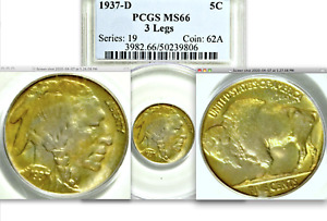 Click now to see the BUY IT NOW Price! 1937 D PCGS MS66 THREE LEGGED  3 LEGS  POP 12/0  KEY DATE BUFFALO NICKEL  5C