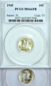 Click now to see the BUY IT NOW Price! 1945 PCGS MS66 FULL BANDS  POPULATION 19/5   SET STOPPER  MERCURY DIME 10C
