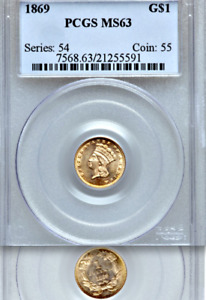 Click now to see the BUY IT NOW Price! 1869 PCGS MS63 MINTAGE 5 900  POP 121 IN ALL GRADES  GORGEOUS  GOLD DOLLAR $1