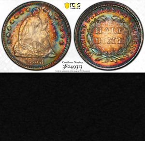 Click now to see the BUY IT NOW Price! 1858 PCGS MS64 PCGS MS64 UNIQUE RAINBOW TONING  LUSTROUS  SEATED HALF DIME H10C