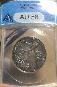 1915 S ANACS AU58 PAN PAC SILVER COMMEMORATIVE HALF DOLLAR
