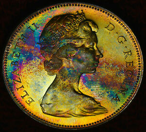 1967 SILVER DOLLAR $1 PCGS MS 64   AMAZING MULTI COLOR   WOW
