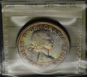 1963 SILVER DOLLAR $1 ICCS MS 64   SUPERB GOLDEN TONES