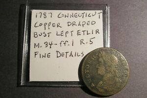 Click now to see the BUY IT NOW Price! 1787 CONNECTICUT COPPER  DBL COLONIAL ETLIR M. 34 FF.1  R.5  FINE DETAILS