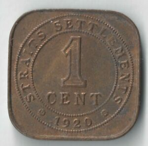 LOOK  1920 STRAITS SETTLEMENTS 1 CENT FOREIGN COIN UNC GEORGE V KING INDIA