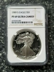 1989 S PROOF SILVER EAGLE PF69 NGC