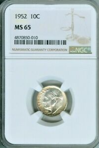 1952 ROOSEVELT DIME NGC MS65 BU TONED COIN